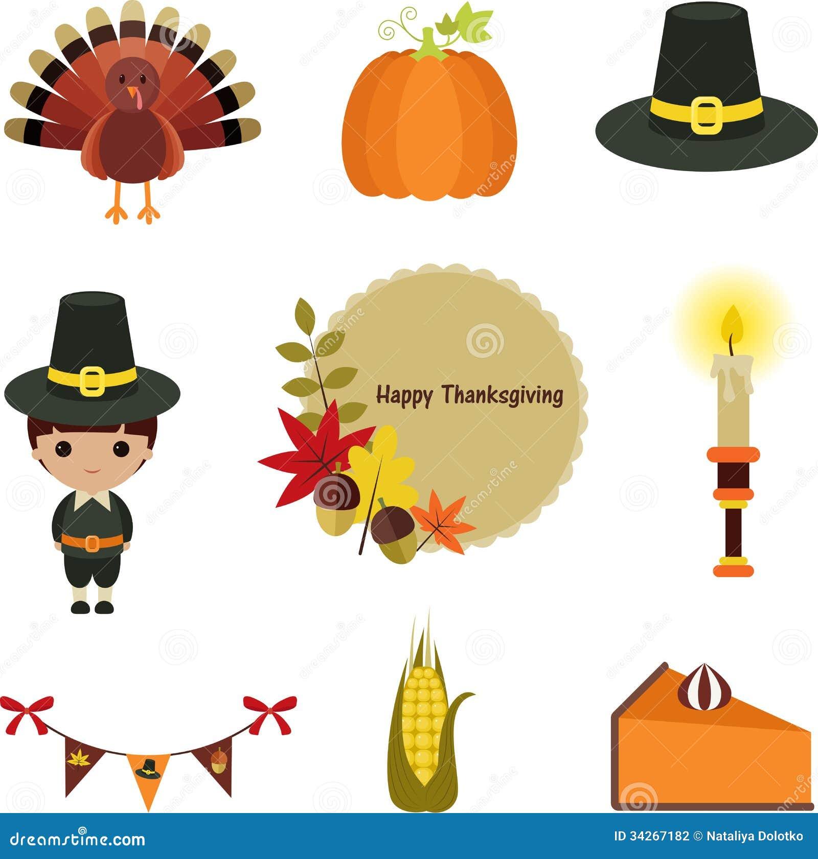 Thanksgiving clip-art set. stock vector. Illustration of ...