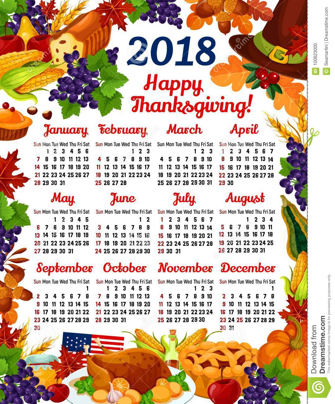 thanksgiving day 2018 calendar template design of turkey fruit pie or maple leaf and oak acorn autumn wine or mushroom and pumpkin cornucopia