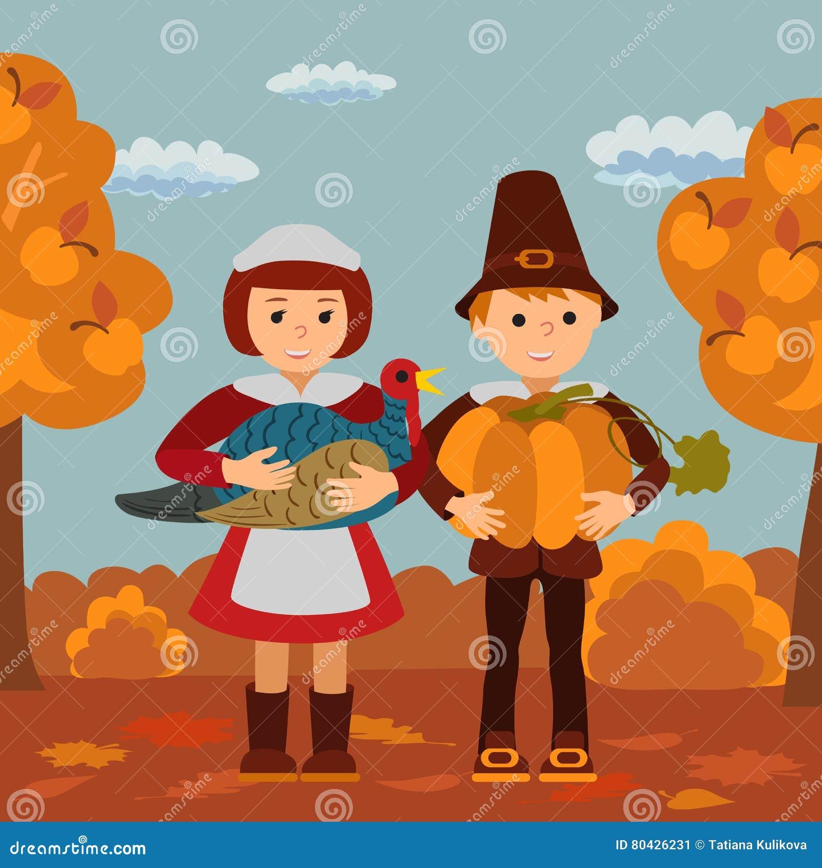 Thanksgiving Day Children Pumpkin And Turkey Garden Vector ...
