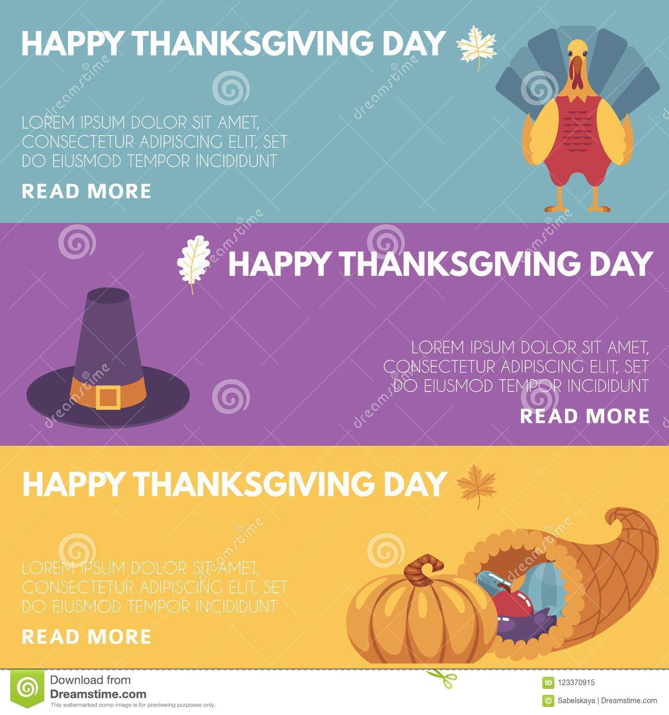 Thanksgiving Day Congratulation Horizontal Banners Set With Images