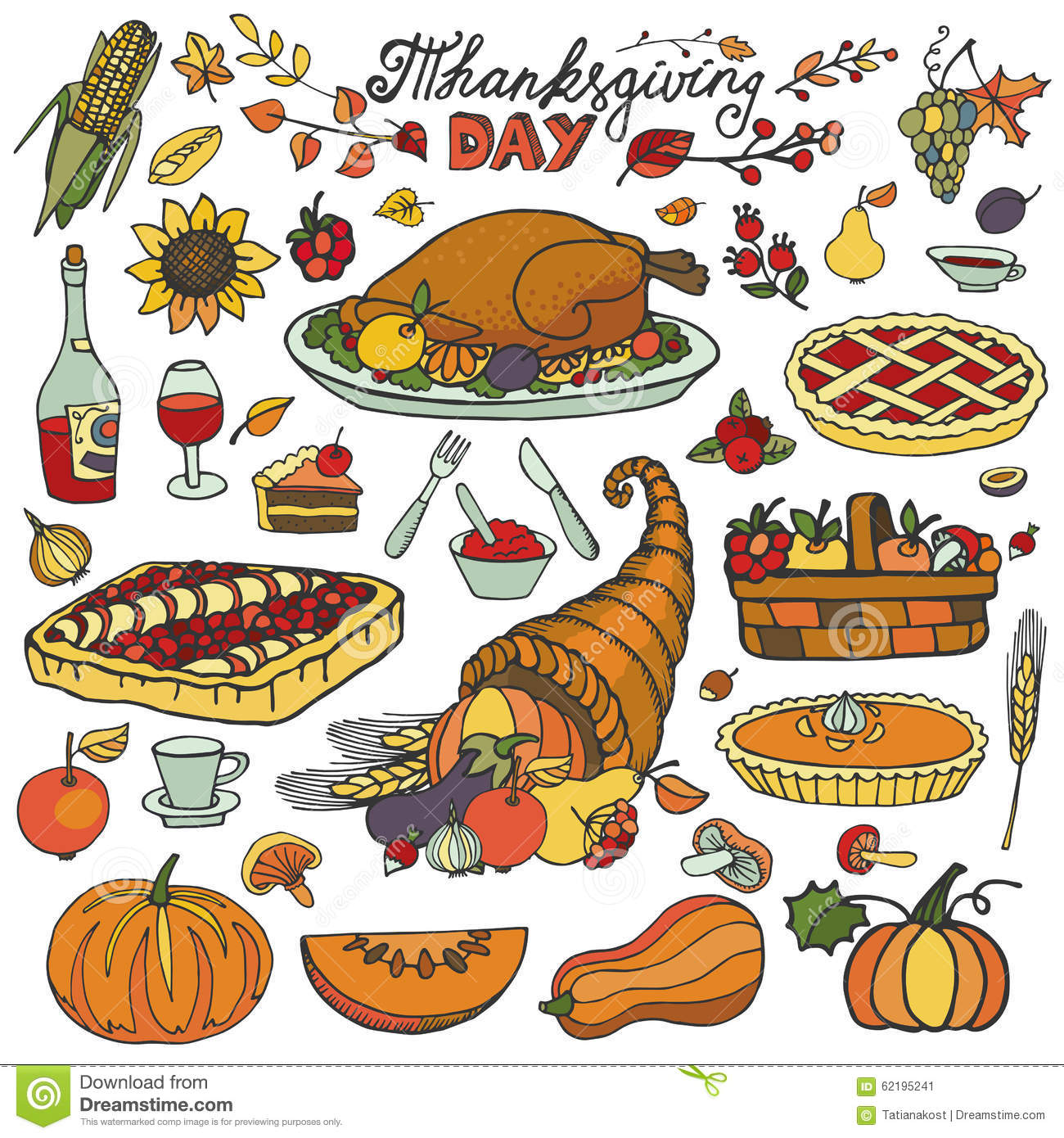 Thanksgiving Day.Doodle Food Icons.Colorful Set Stock ...