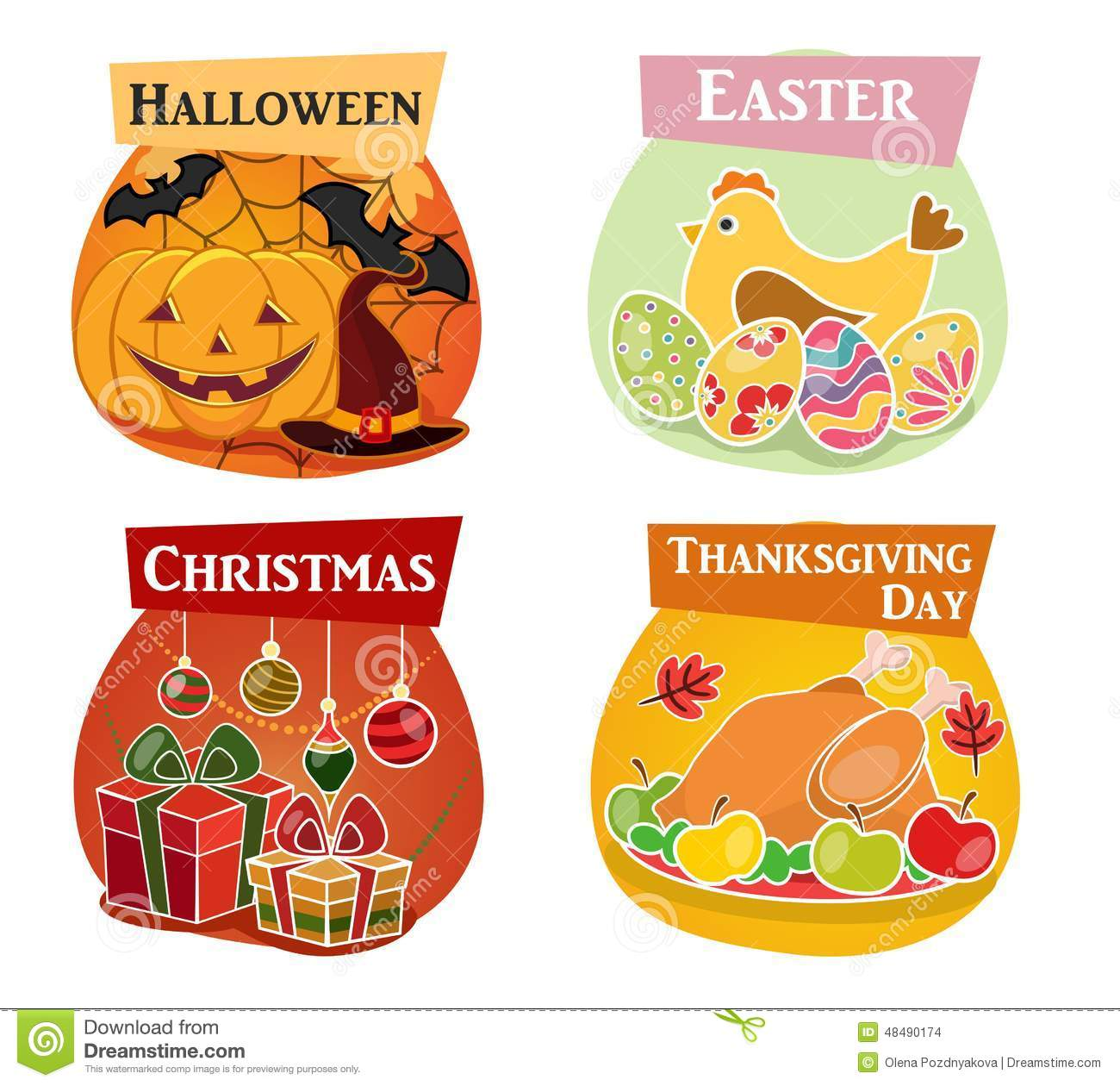 Thanksgiving Day Easter Halloween Christmas Flat Icons