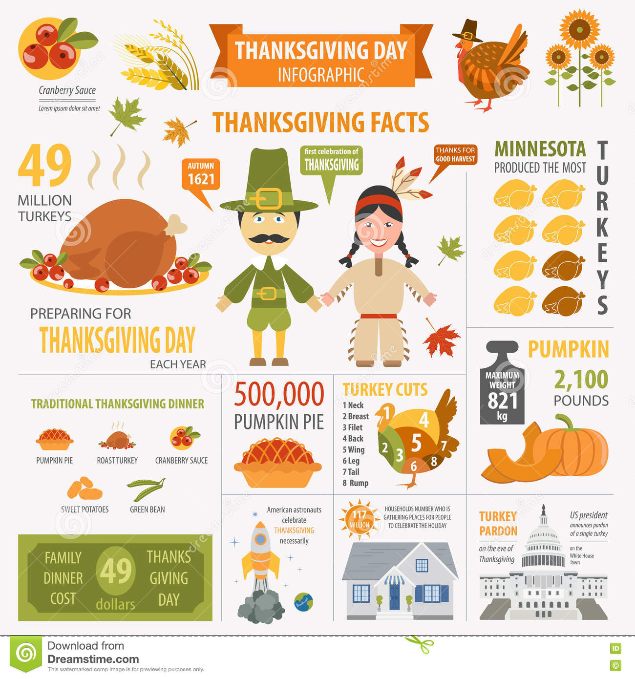 Thanksgiving Day, Interesting Facts In Infographic. Graphic Temp ...