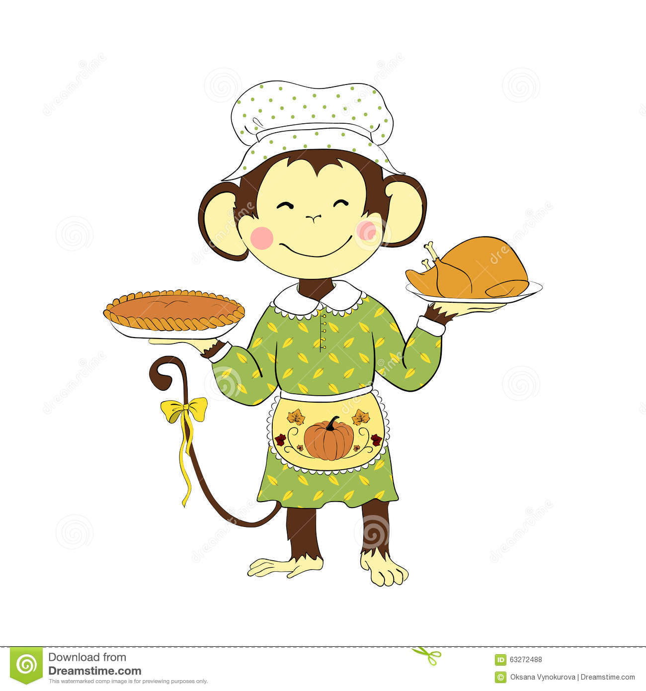 Design Your Cartoon Character : Thanksgiving day monkey lady holding turkey and pumpkin