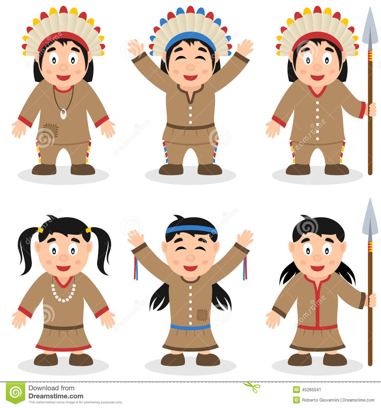 Thanksgiving Day Native Characters Set Stock Vector