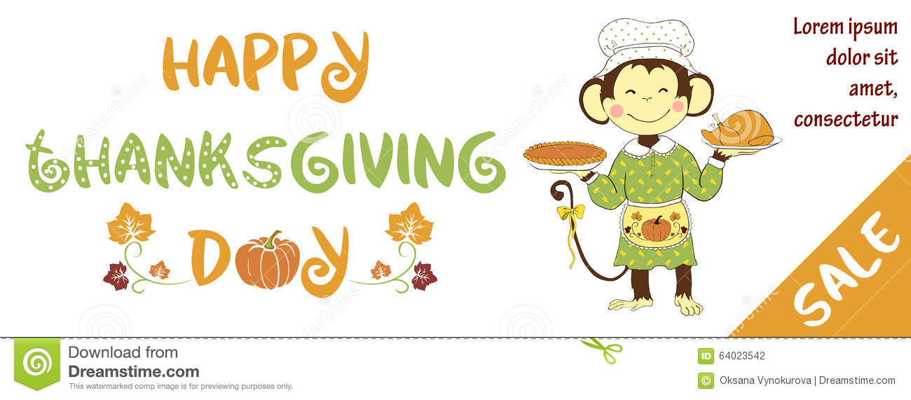 Thanksgiving Day Sale Banner With Cute Monkey
