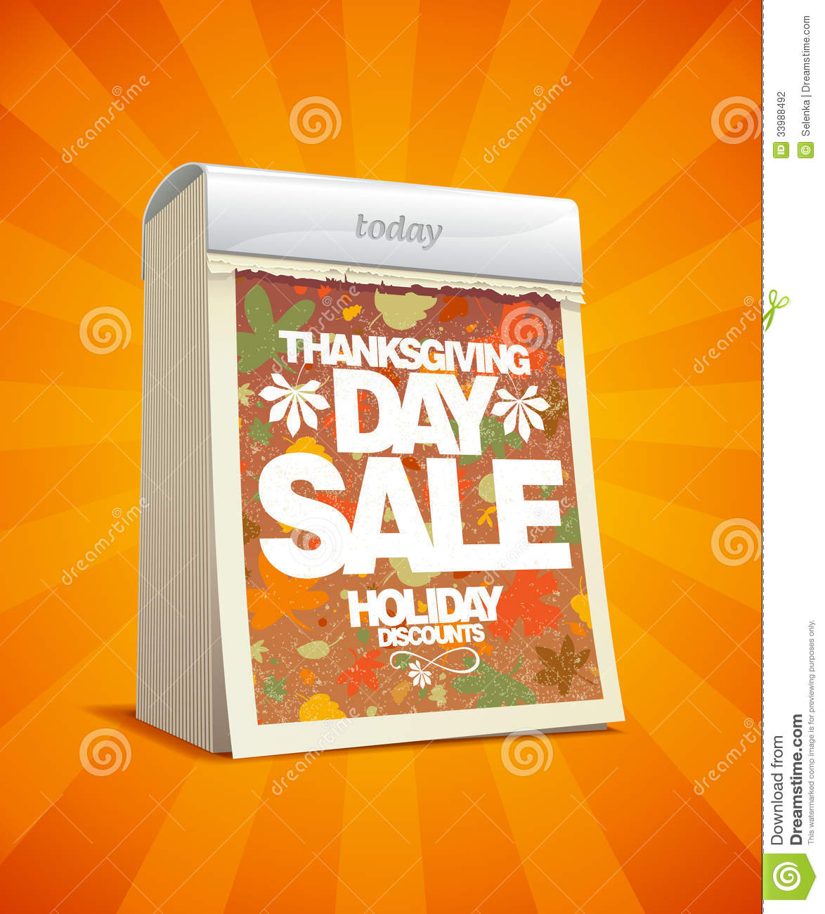 Calendar For Sale : Thanksgiving day sale banner with cute monkey vector