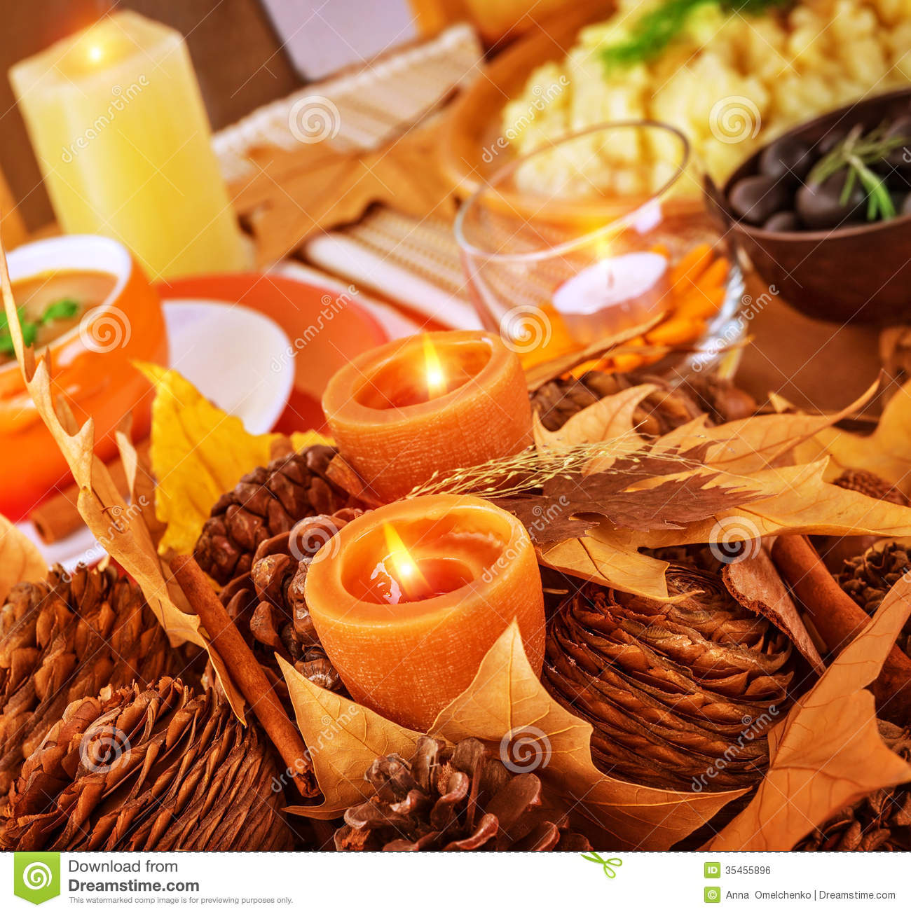 Thanksgiving Day Table Decor Stock Photo Image Of Holidays Dinner