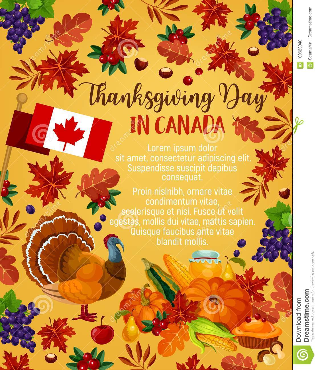Thanksgiving Day Vector Canadian Greeting Poster Stock Vector