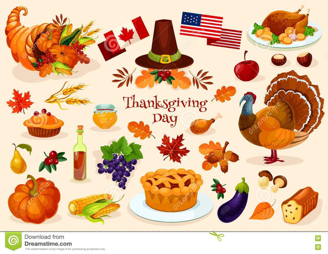 thanksgiving day vector icons stock vector illustration of