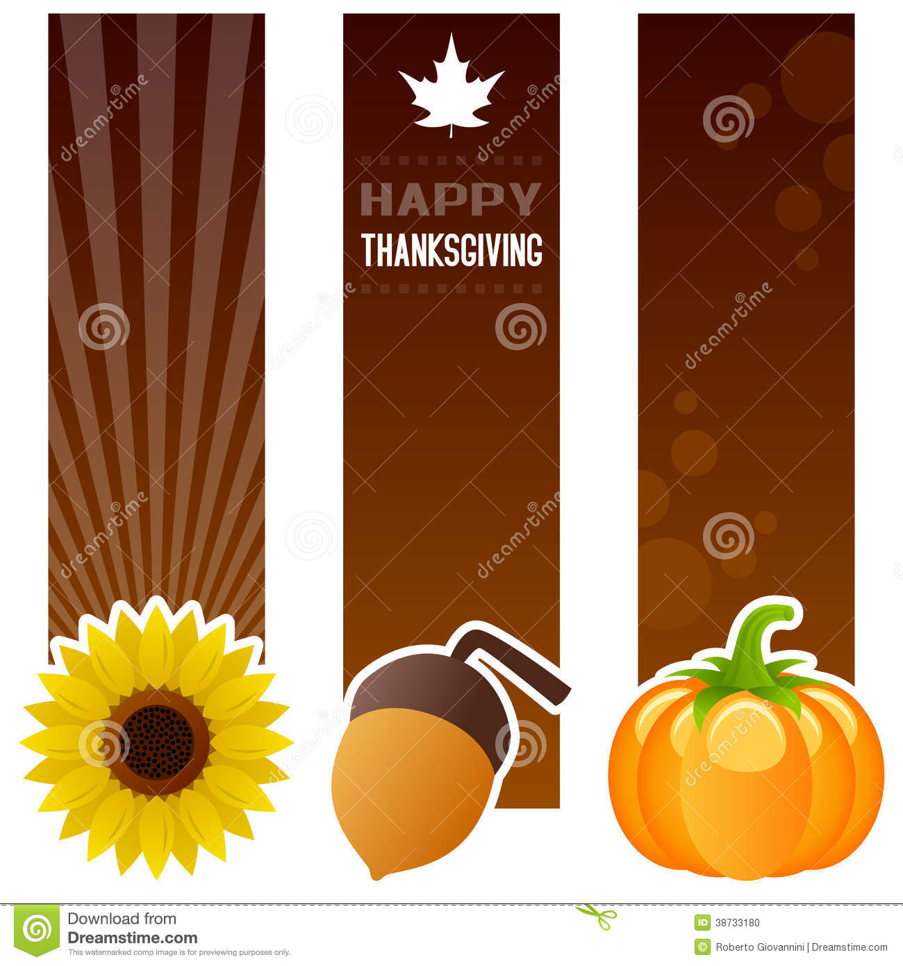 Thanksgiving Day Vertical Banners Stock Photo - Image: 38733180