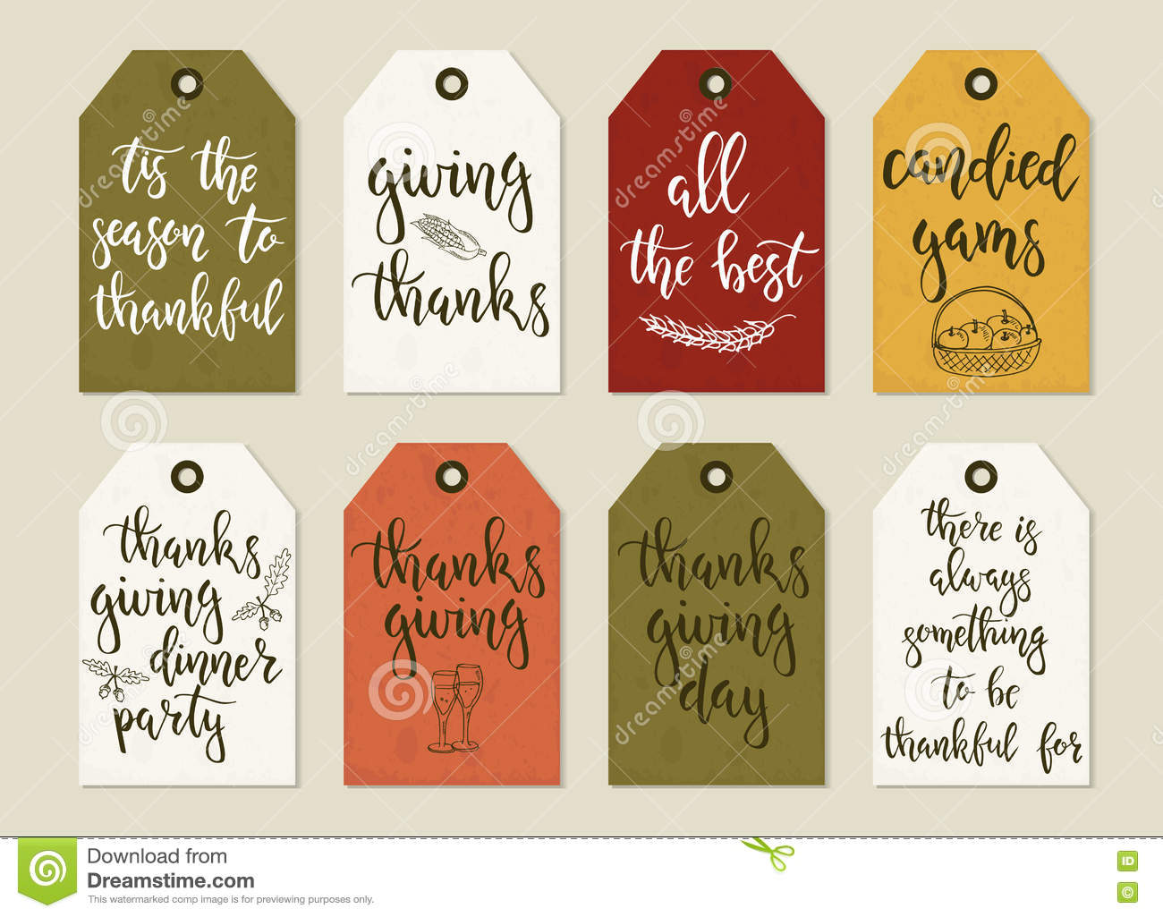 Thanksgiving Day Vintage Gift Tags And Cards With Calligraphy Stock Vector Illustration Of Natural Scrap 78471441