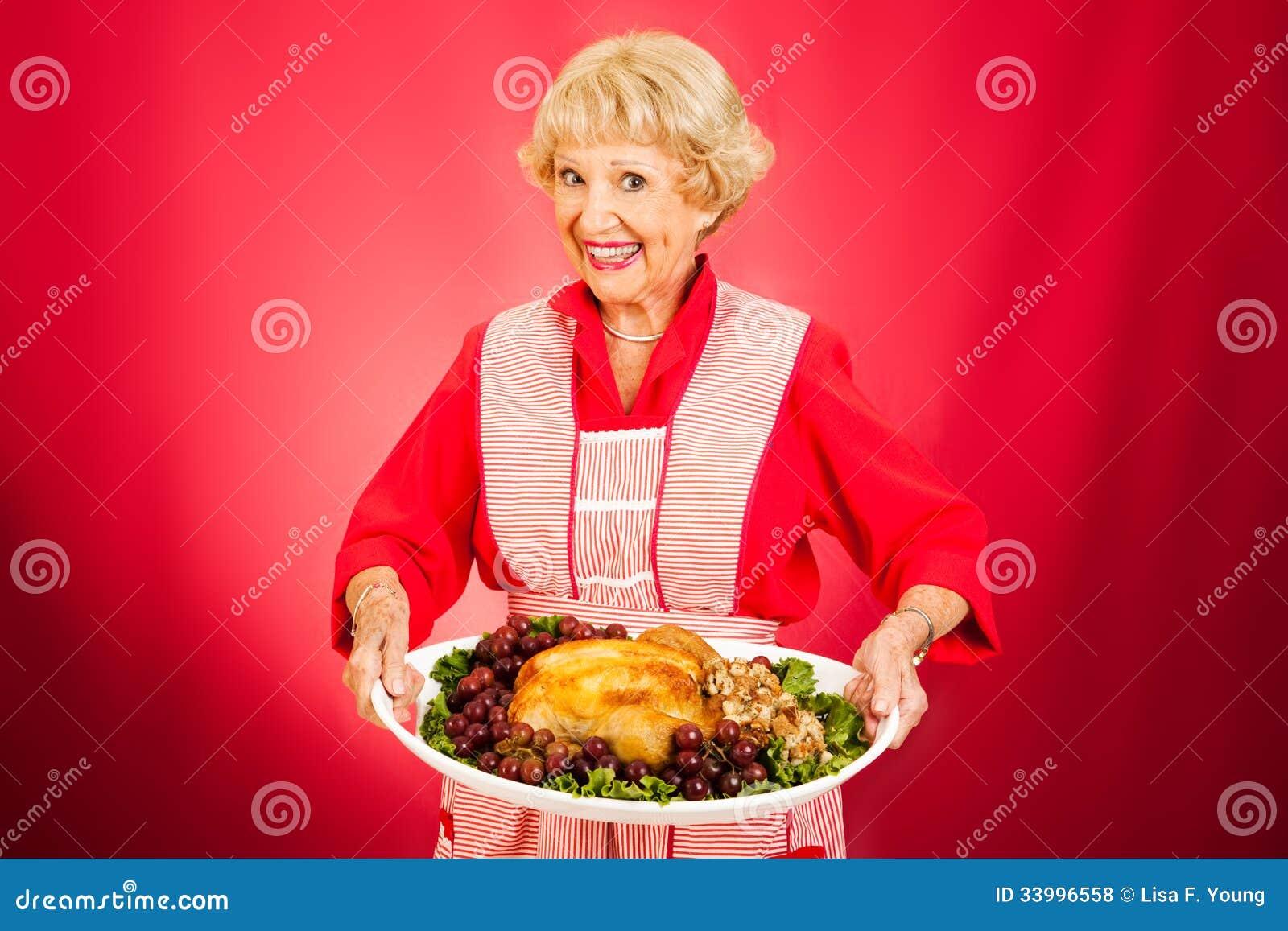 Thanksgiving Dinner With Grandma Royalty Free Stock Photos