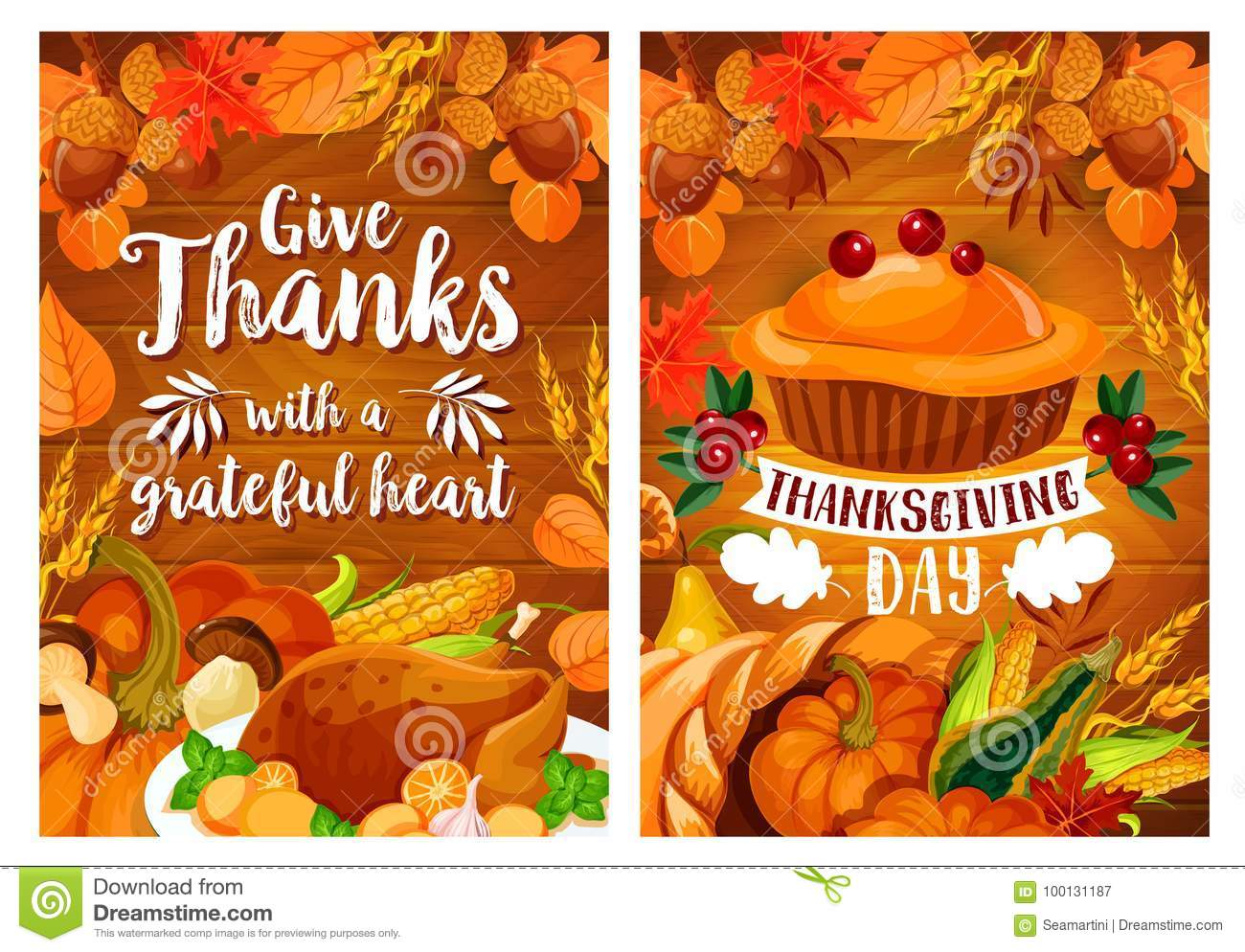 Thanksgiving Dinner Poster Set With Turkey And Pie Stock