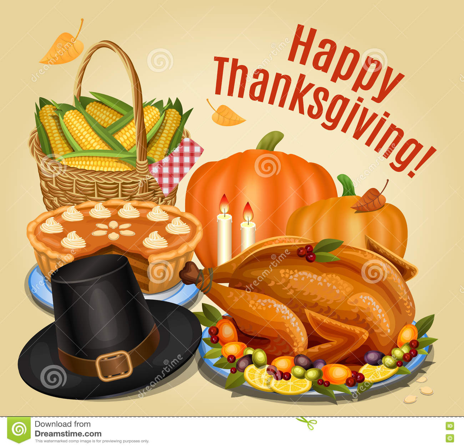 Thanksgiving Dinner Roast Turkey On Platter With Garnish