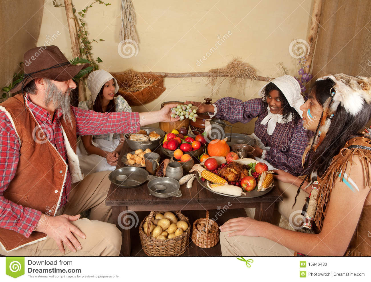 Thanksgiving dinner table stock photo image of indigenous - American history x dinner table scene ...