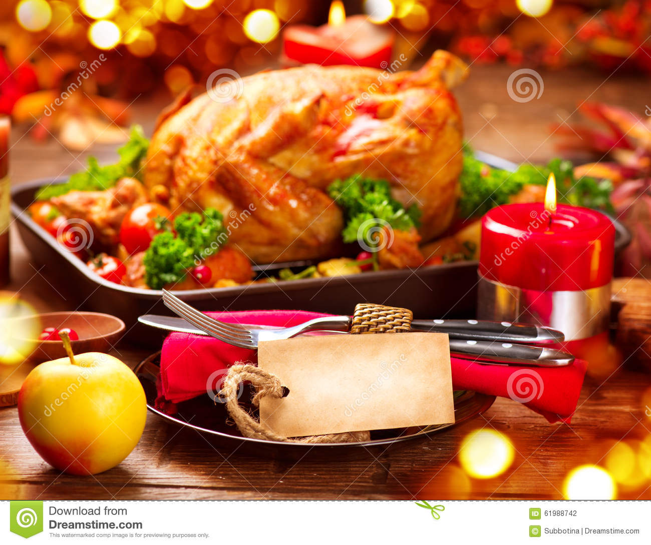 Thanksgiving Dinner Table Served With Turkey Stock Photo Image Of