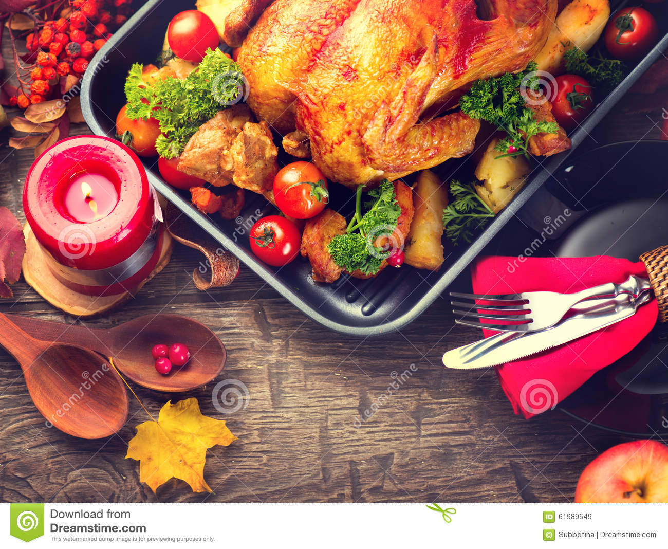 Thanksgiving Dinner Table Served With Turkey Stock Photo