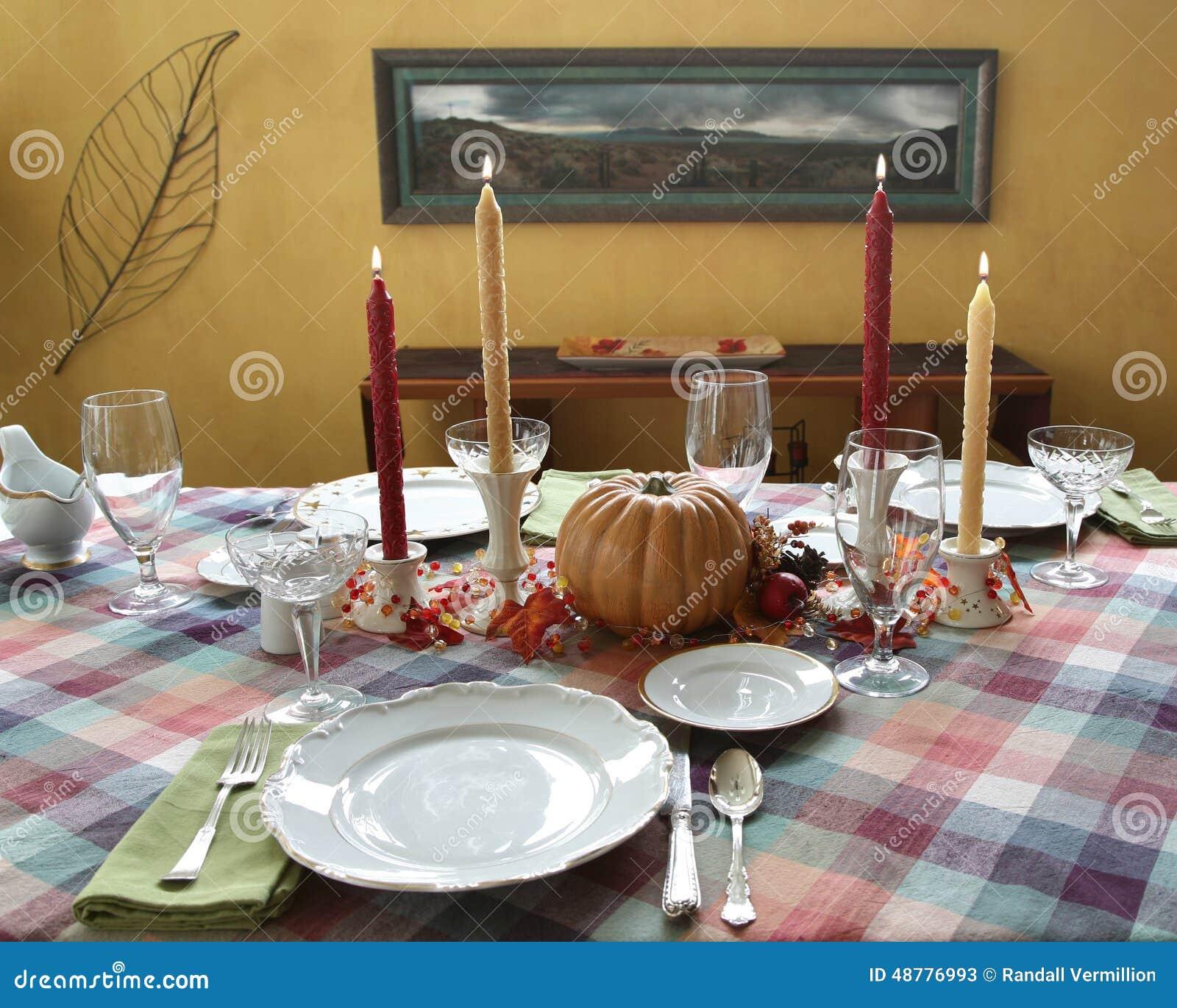 Thanksgiving Dinner Table Set For Dinner Stock Photo