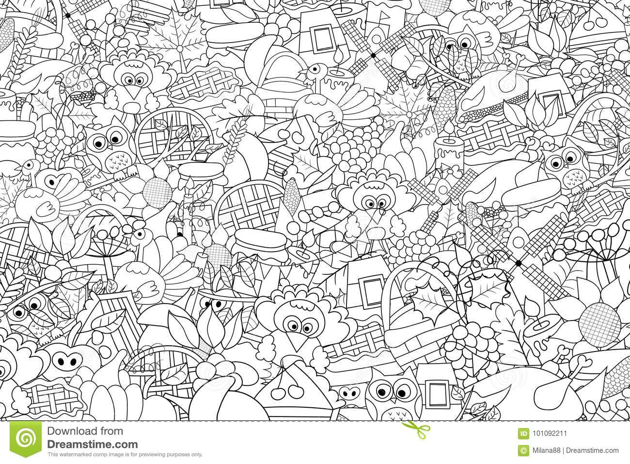 Thanksgiving Doodle Background Black And White Coloring Page Game