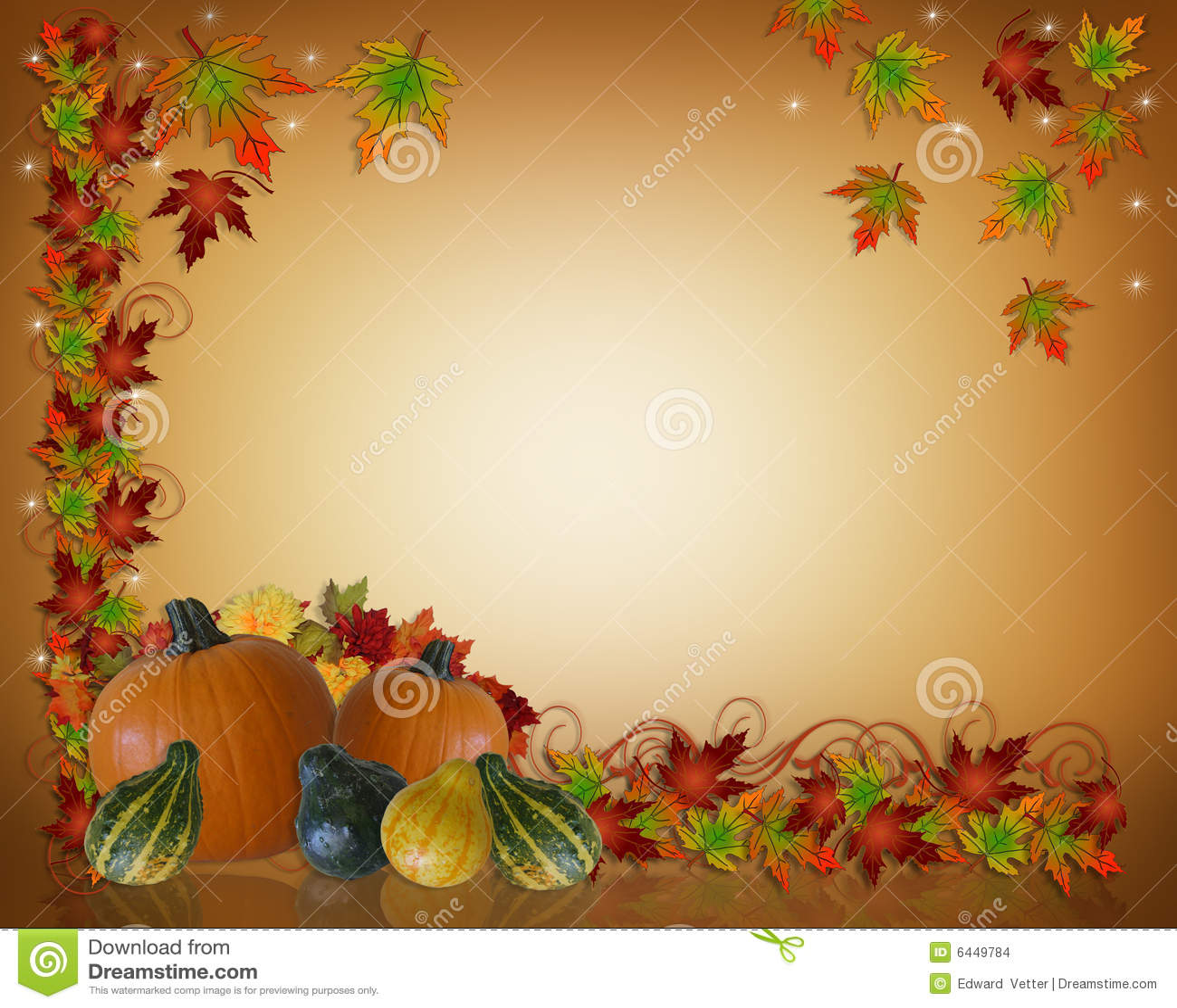 Illustration composition for Thanksgiving invitation, border or ...