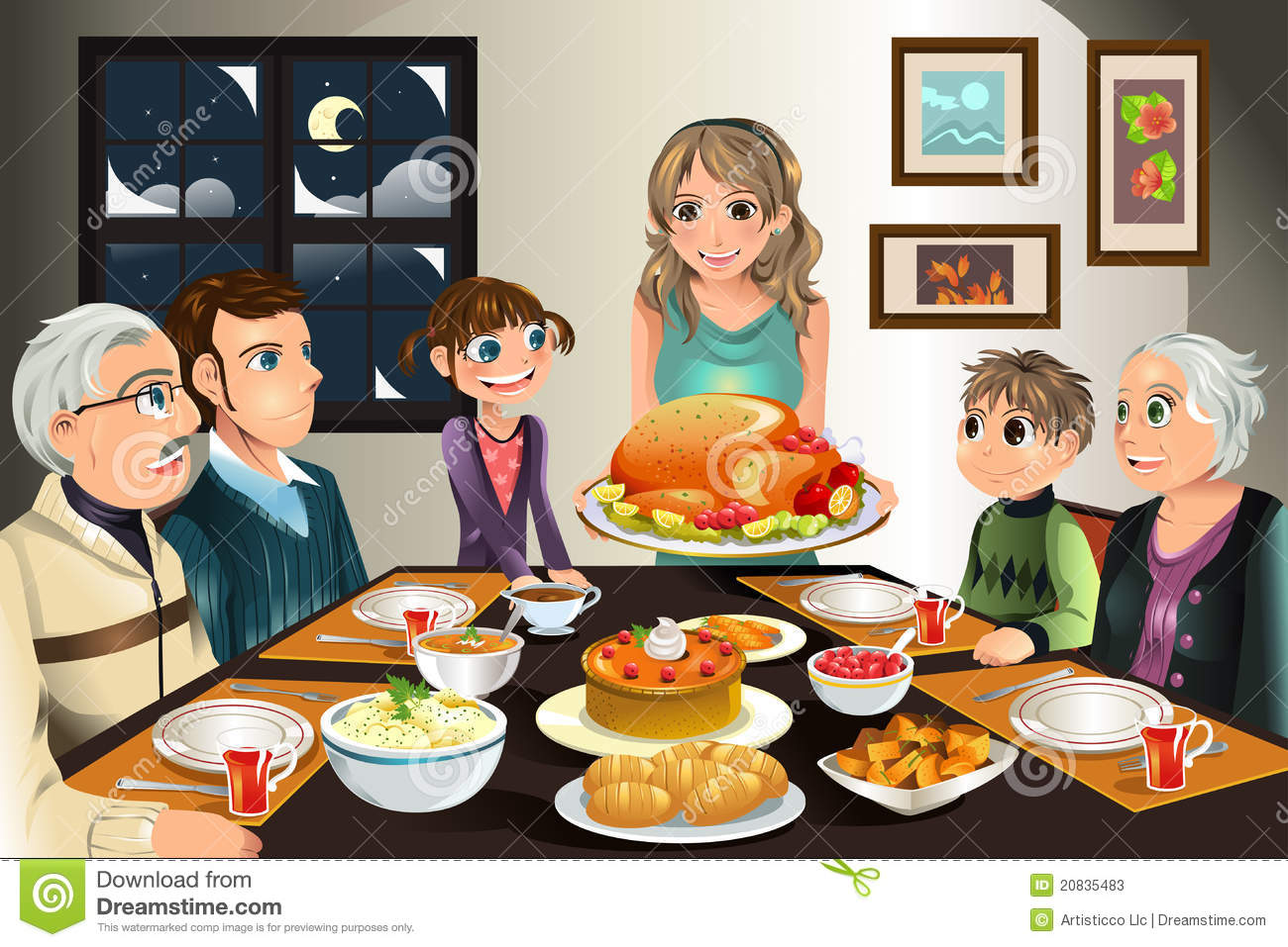 ... vector illustration of a family having a Thanksgiving dinner together