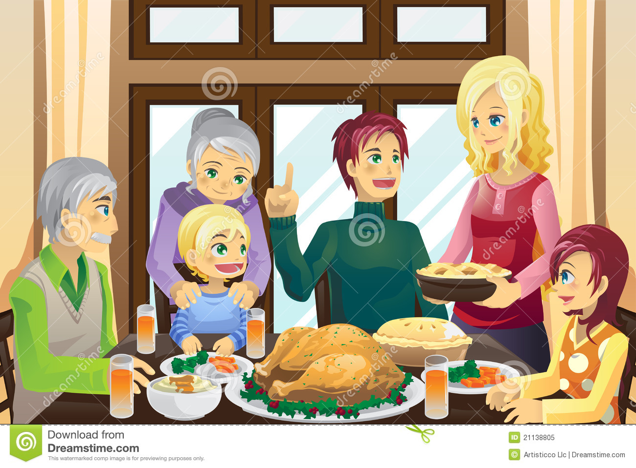 Thanksgiving Family Dinner Royalty Free Stock Photo - Image: 21138805