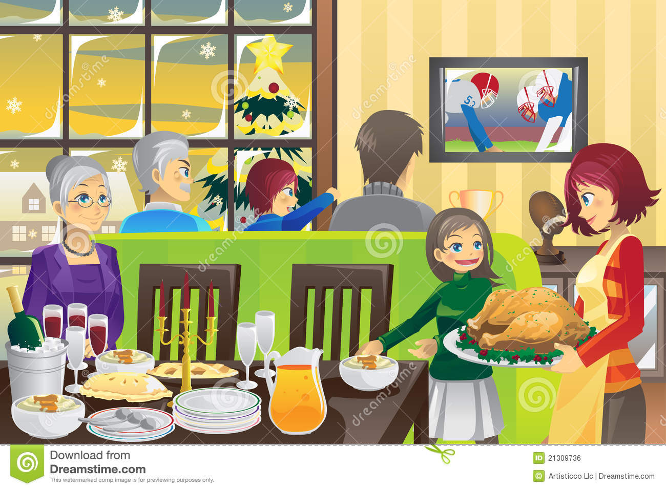 Thanksgiving Family Dinner Stock Vector Image Of Happy