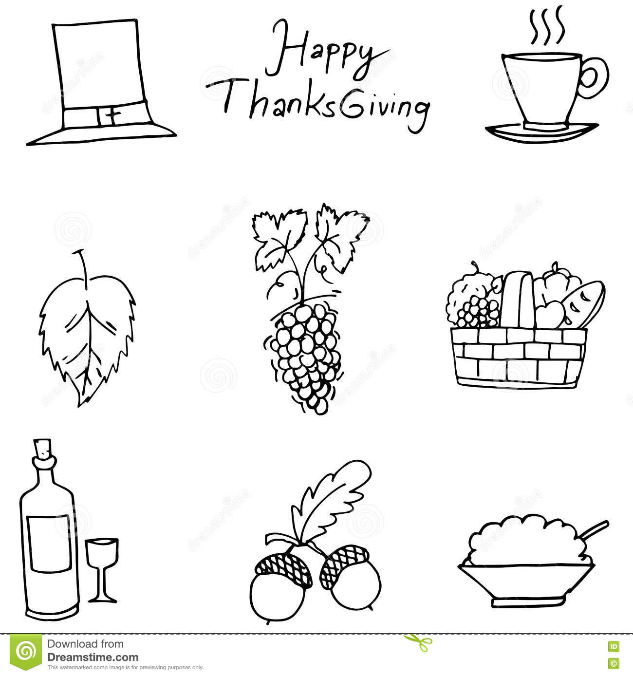 thanksgiving flat hand draw fruit in doodle stock vector