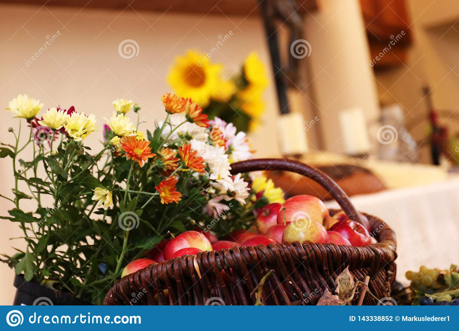 Thanksgiving: Fruits and flowers in front of an altar