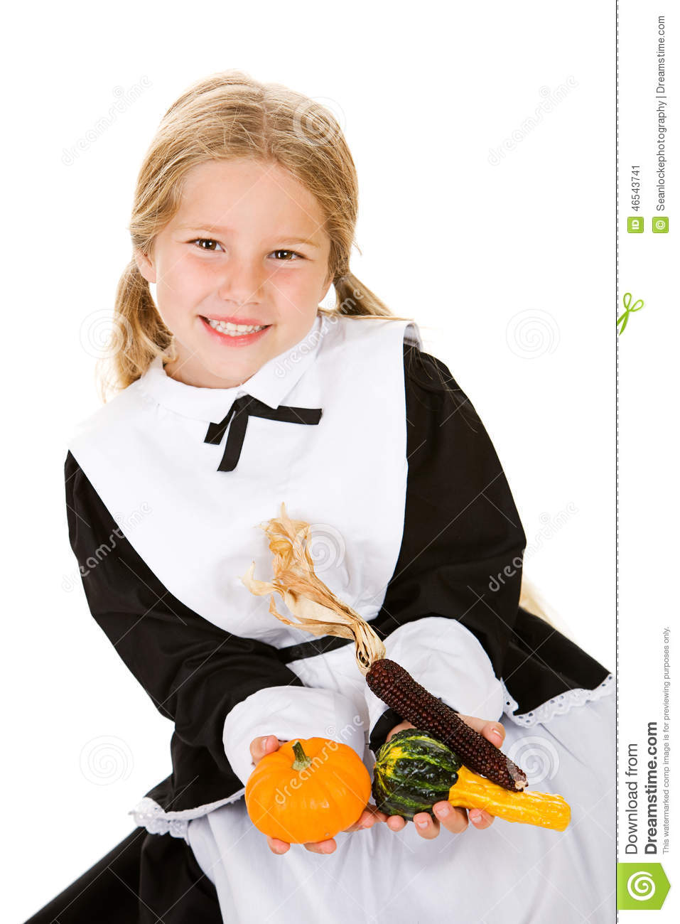 thanksgiving girl pilgrim holding gourds and indian corn pilgrim and indian clipart free Feast Clip Art