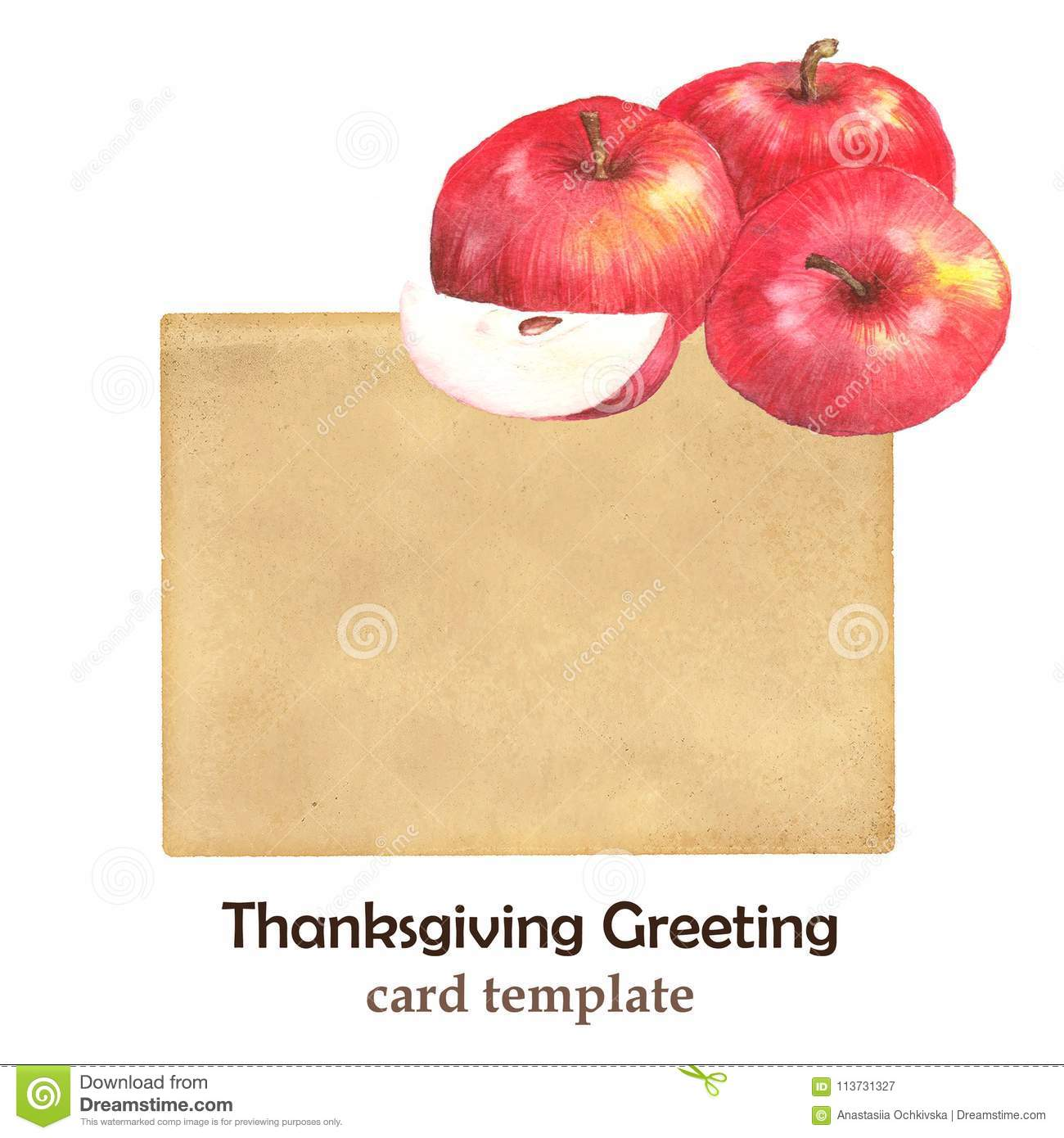 hand drawn illustration of red apples on the old paper card stock
