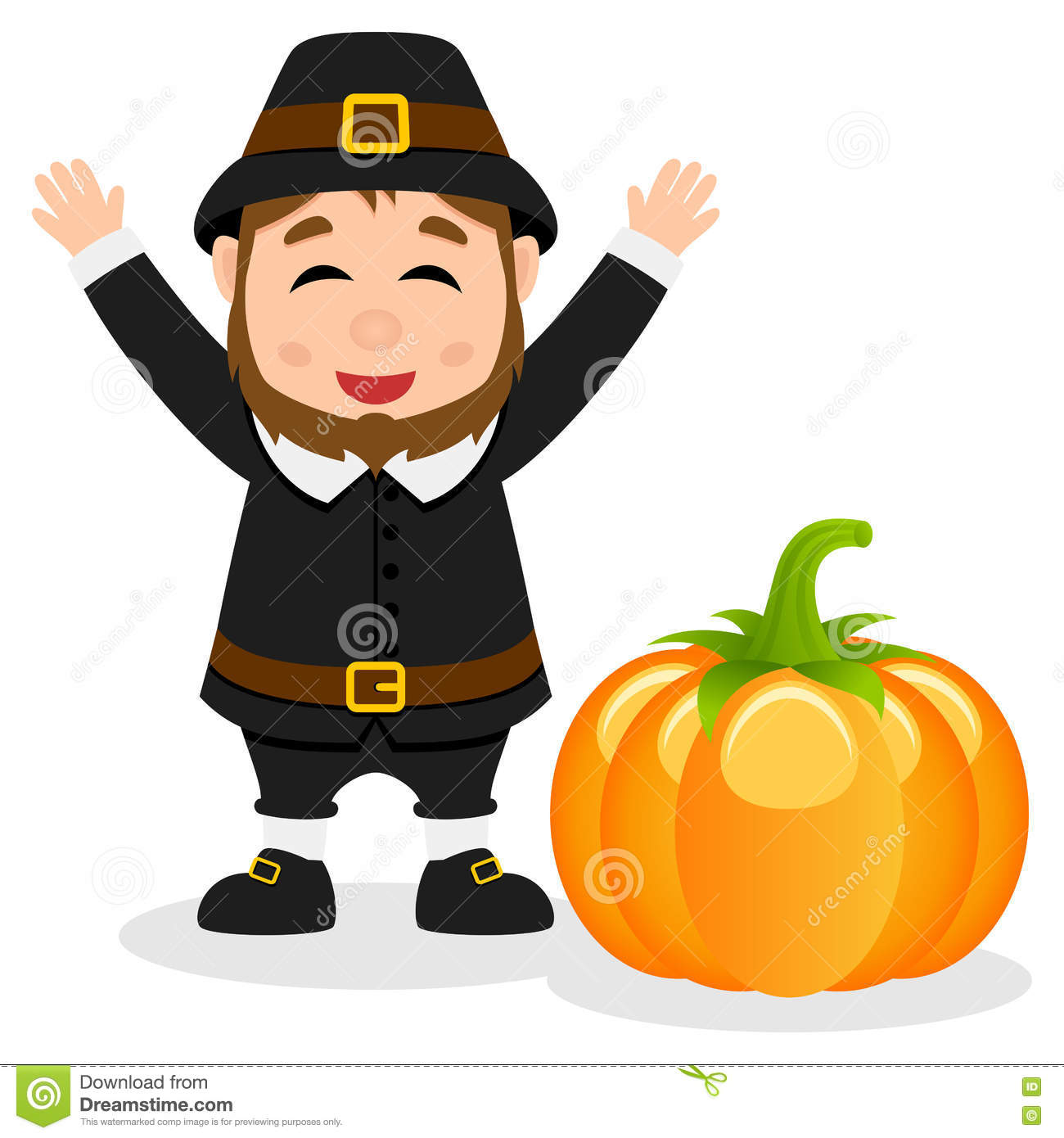 Royalty-Free (RF) Clipart Illustration of a Chubby Pilgrim Man With Hearts  by Cory Thoman #224058
