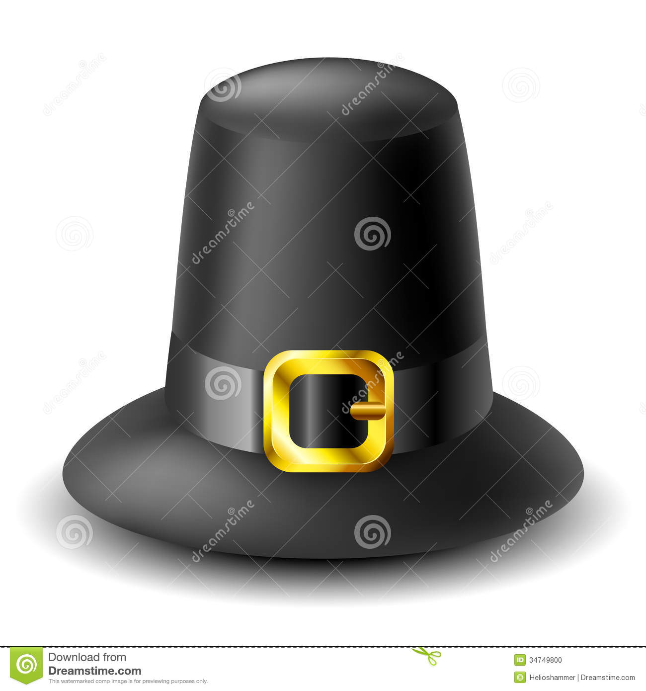 Black thanksgiving pilgrim hat with gold buckle on white