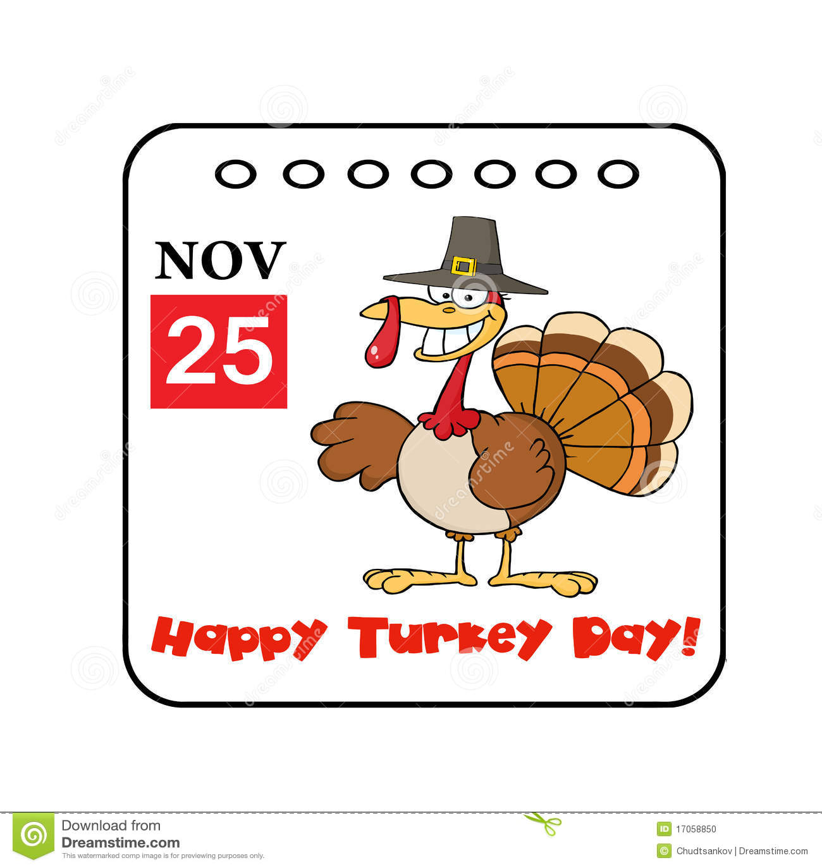 Thanksgiving Holiday Event Cartoon Calendar Stock Photo