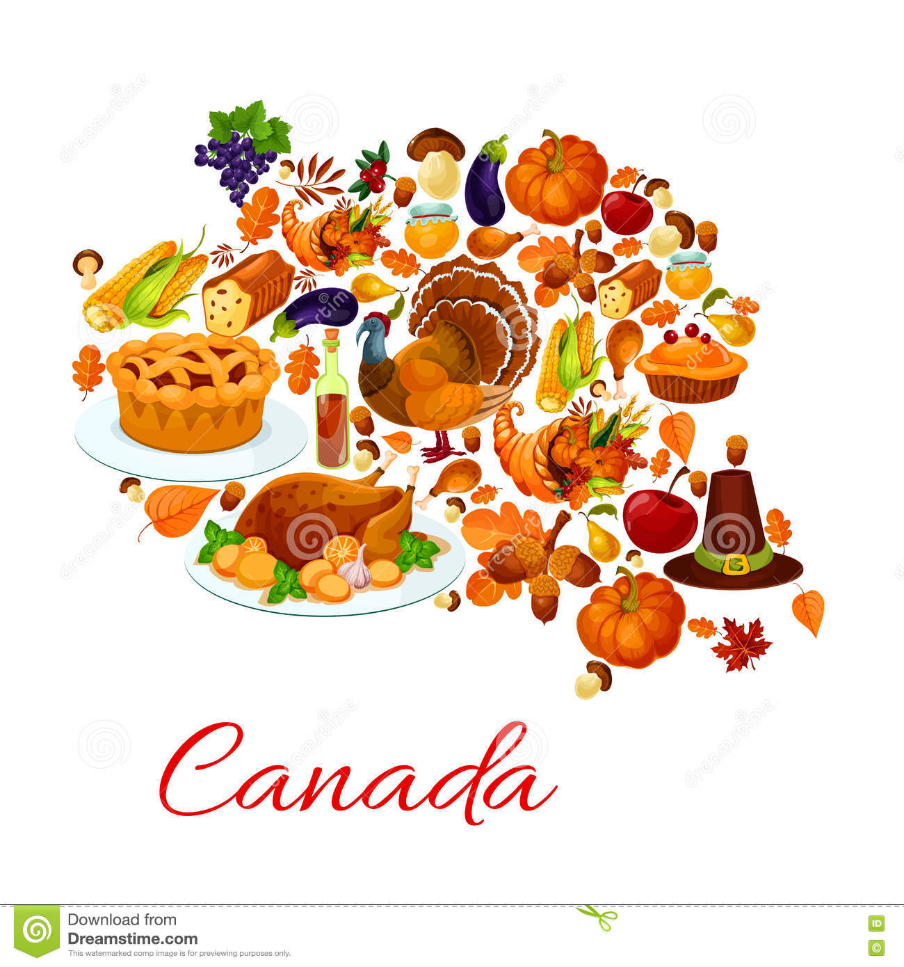 thanksgiving holiday symbols in canada map shape stock vector