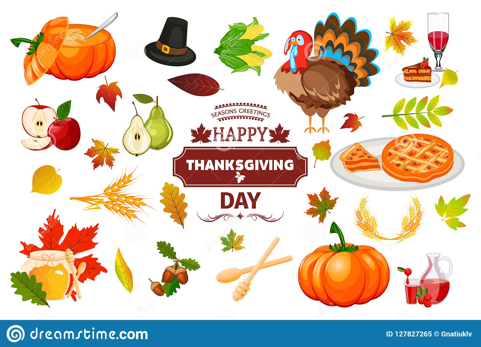 Thanksgiving Icons Autumn Pumpkin Traditional Holiday Food