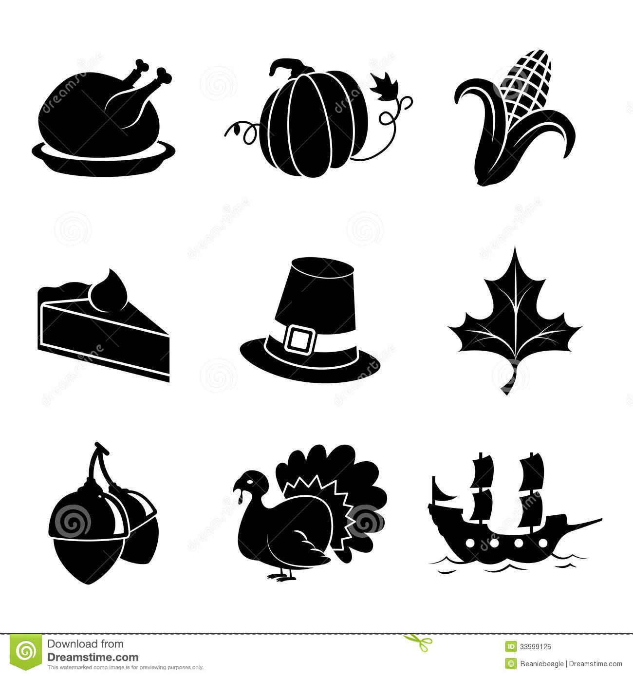 Thanksgiving Icons Stock Vector Image Of Holiday Discovery