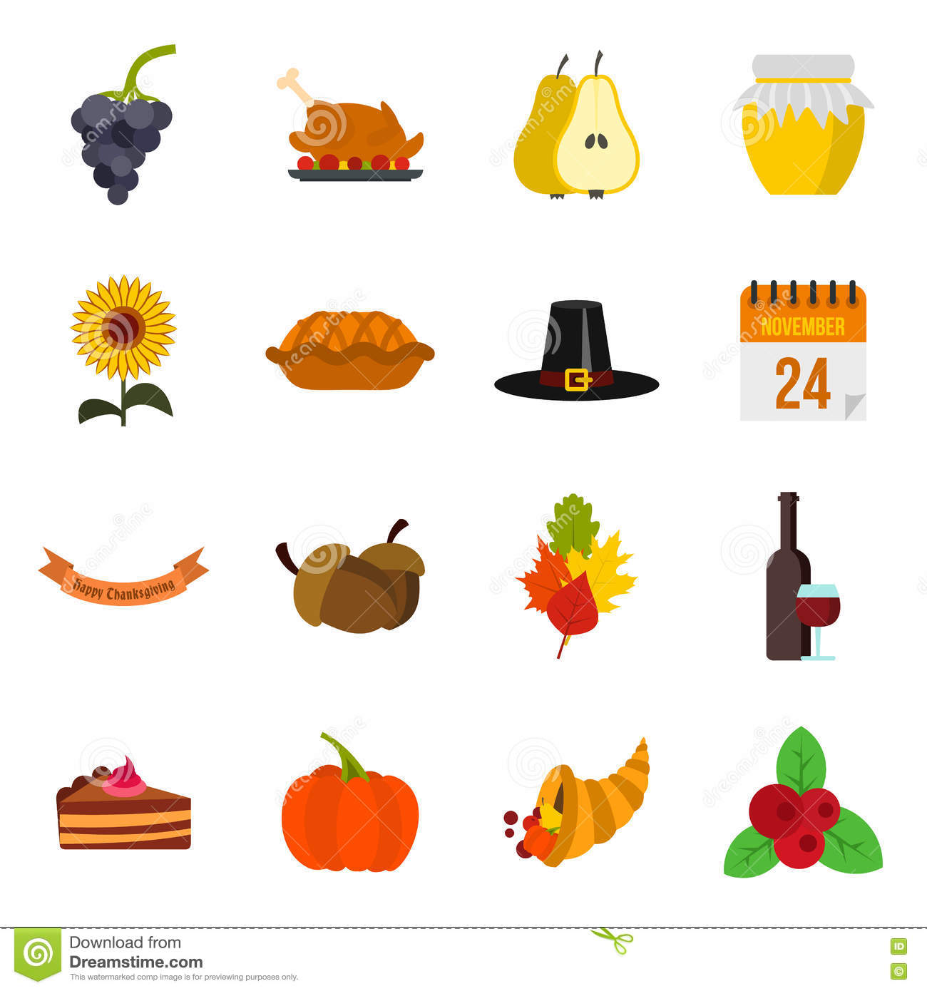 thanksgiving icons set flat style stock vector illustration of