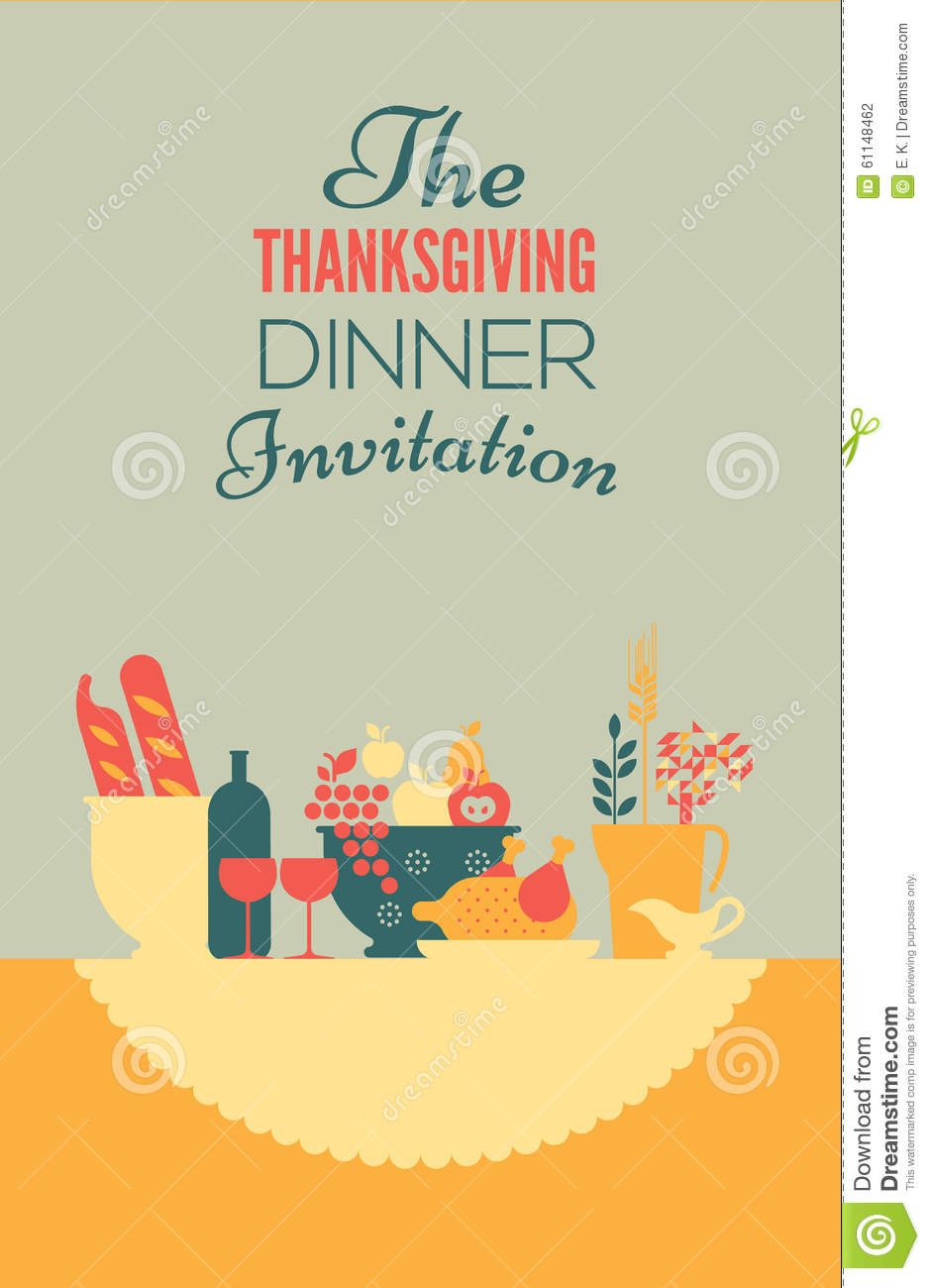 Thanksgiving Invitation Template Stock Vector