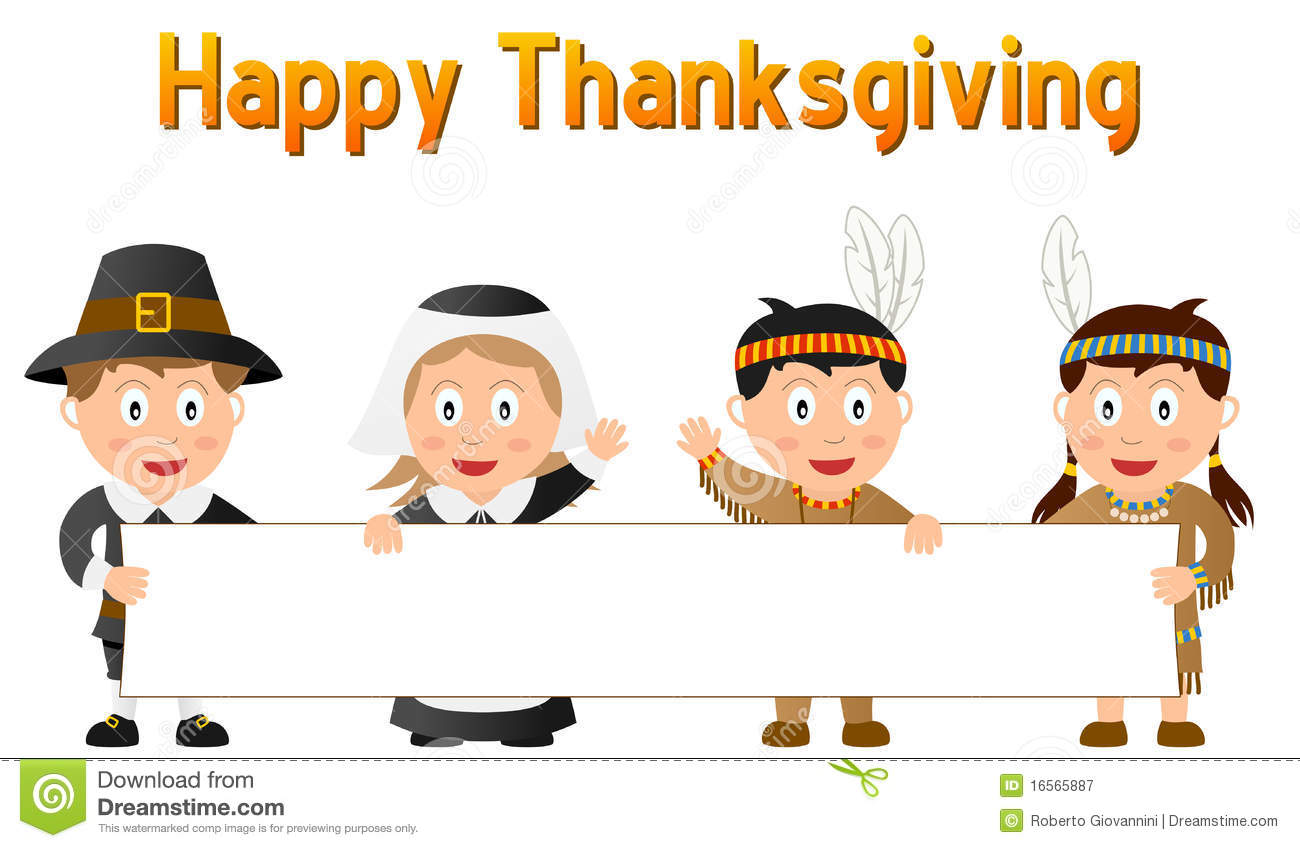 Thanksgiving Kids And Banner Stock Vector - Illustration of cartoon ...