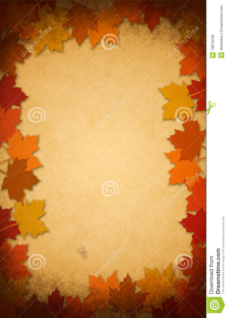 thanksgiving leaves on an old paper background stock photo