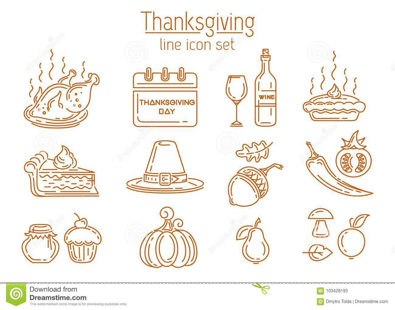 Thanksgiving Line Icon Set Stock Vector Illustration Of Pilgrims