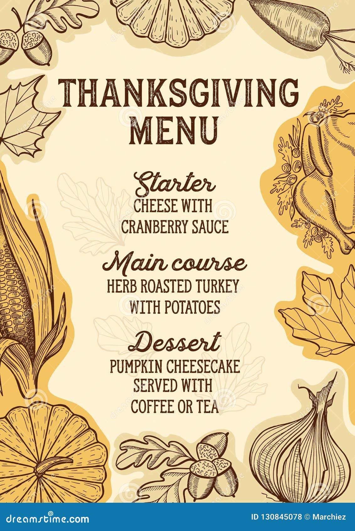 thanksgiving food menu for holiday dinner celebration stock vector