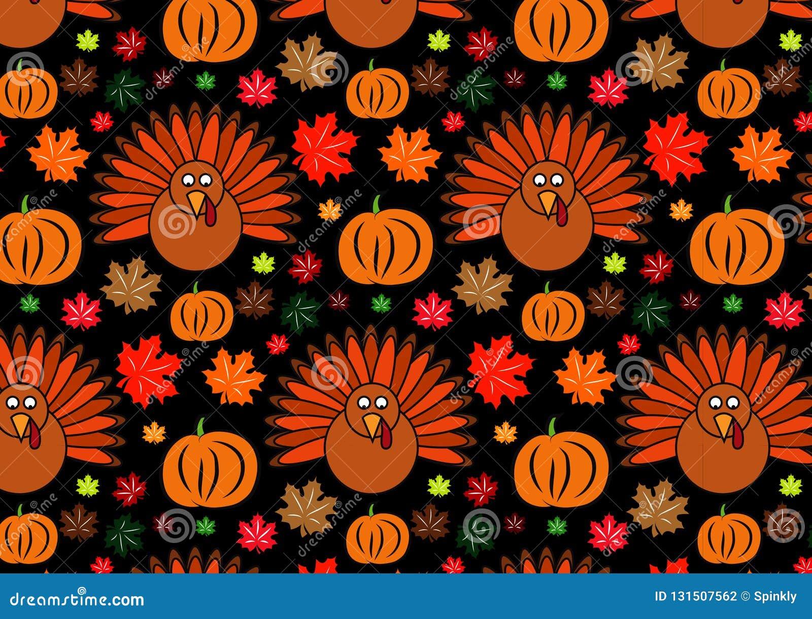 Thanksgiving Pattern Wallpaper Design Background Stock