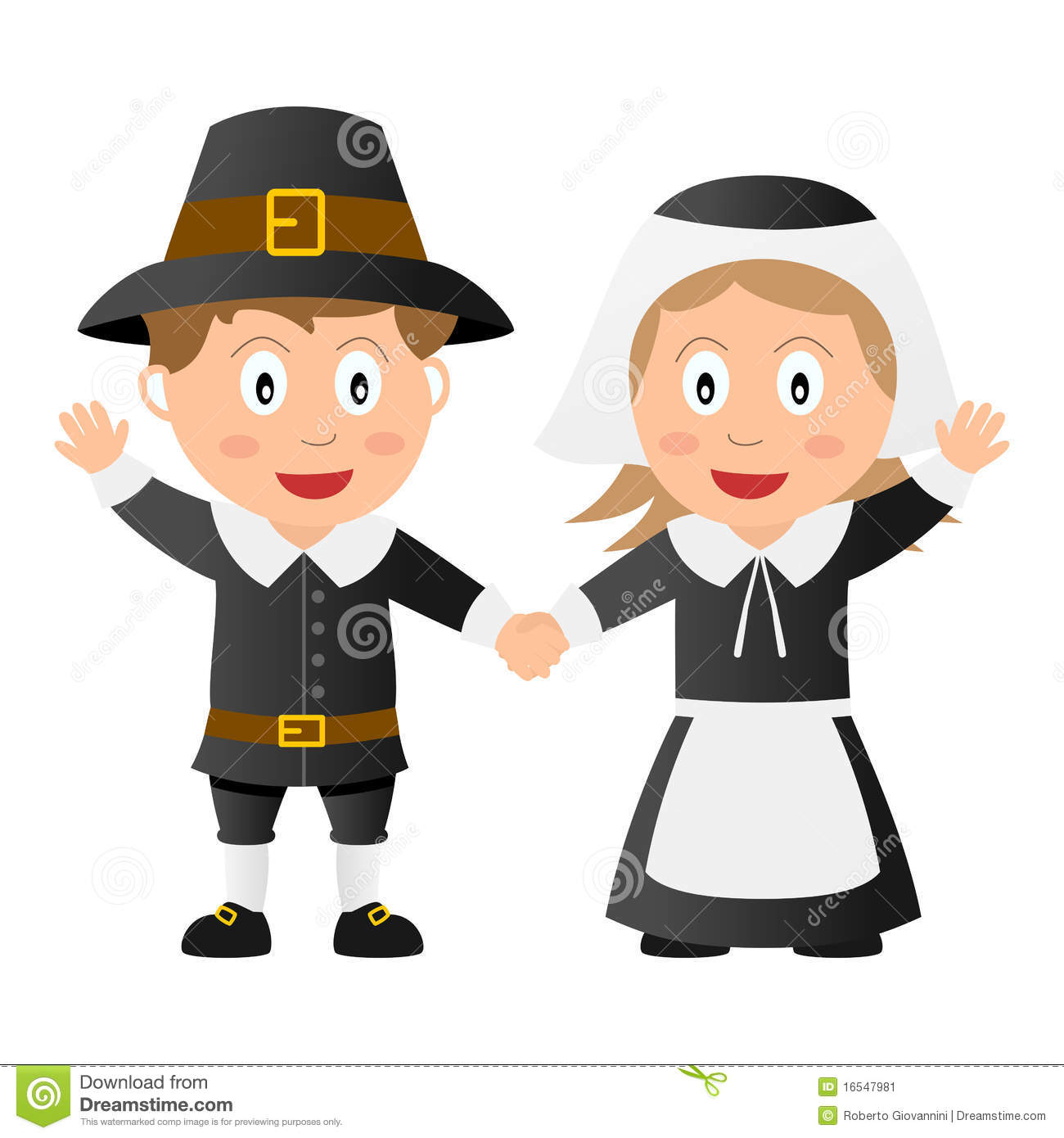 Thanksgiving Pilgrim Kids stock vector. Illustration of ...