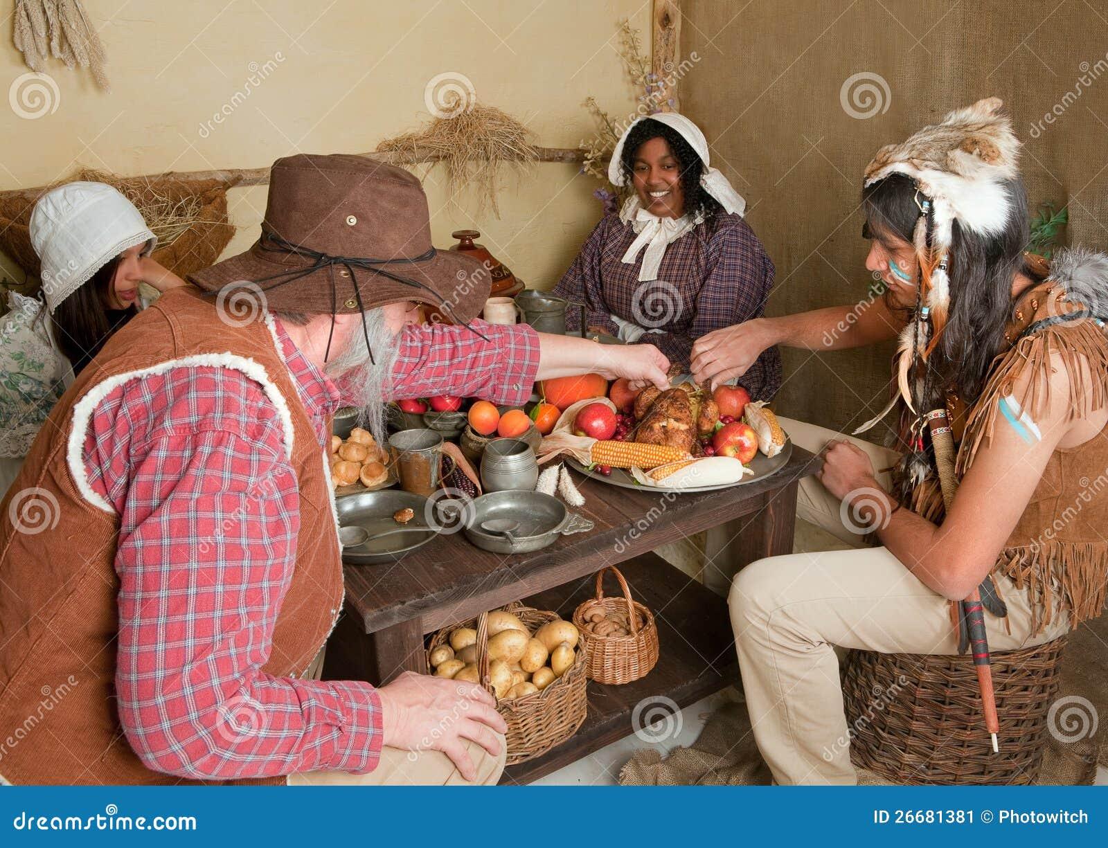 Thanksgiving Pilgrims Eating Stock Image Image 26681381