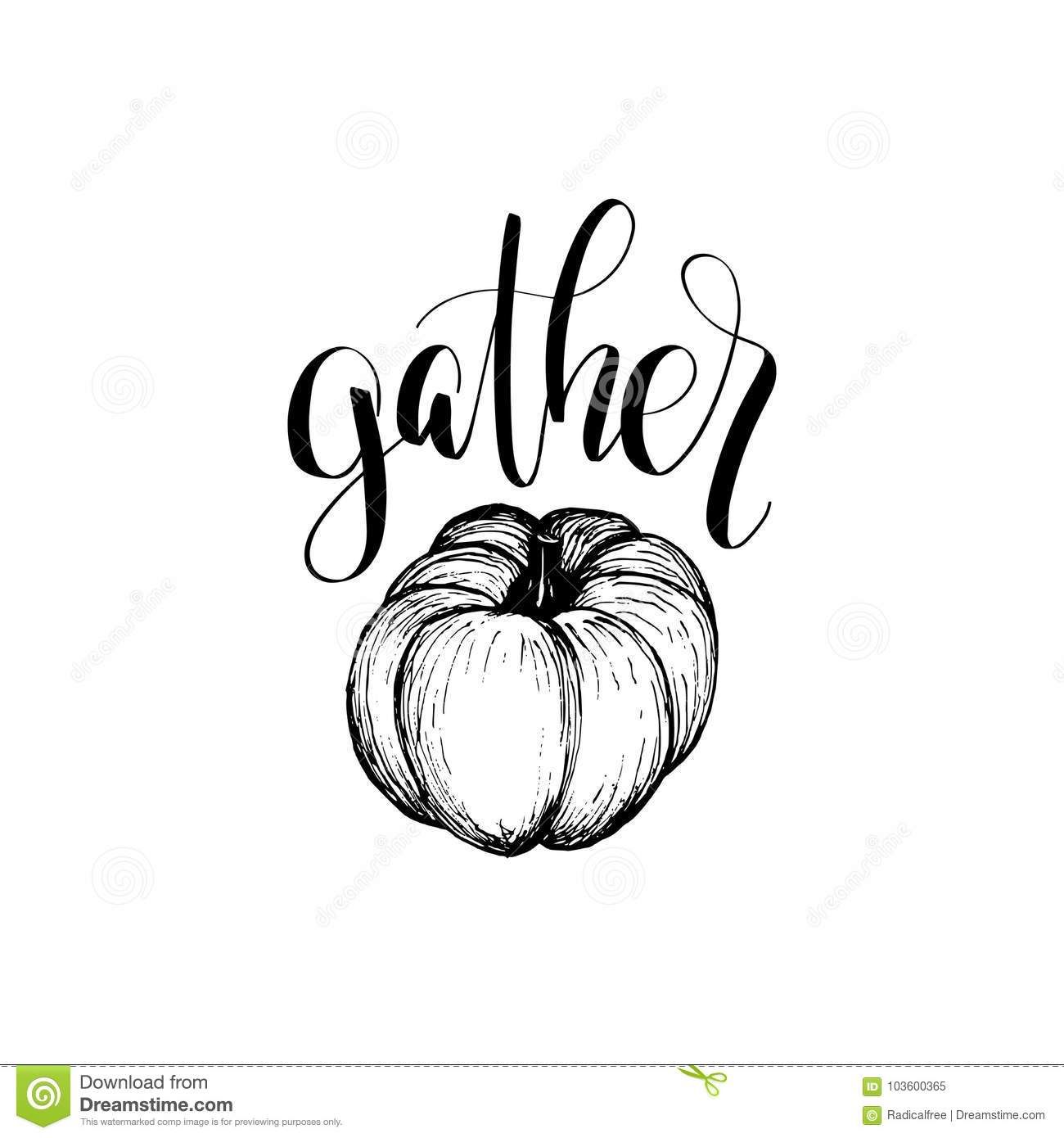 Thanksgiving pumpkin hand sketch illustration for invitation or greeting card template. Gather vector lettering.