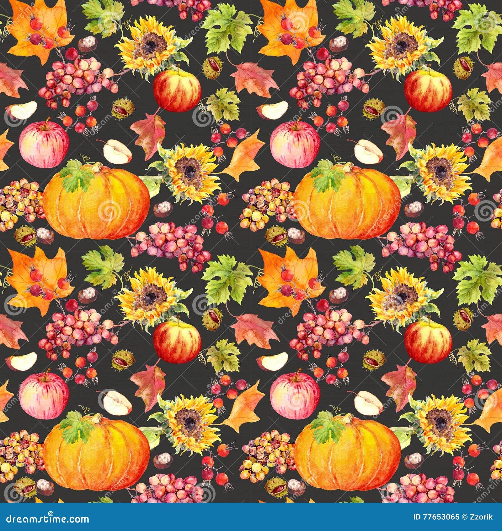 Thanksgiving Flowers Wallpaper: Thanksgiving Seamless Background. Fruits, Vegetables