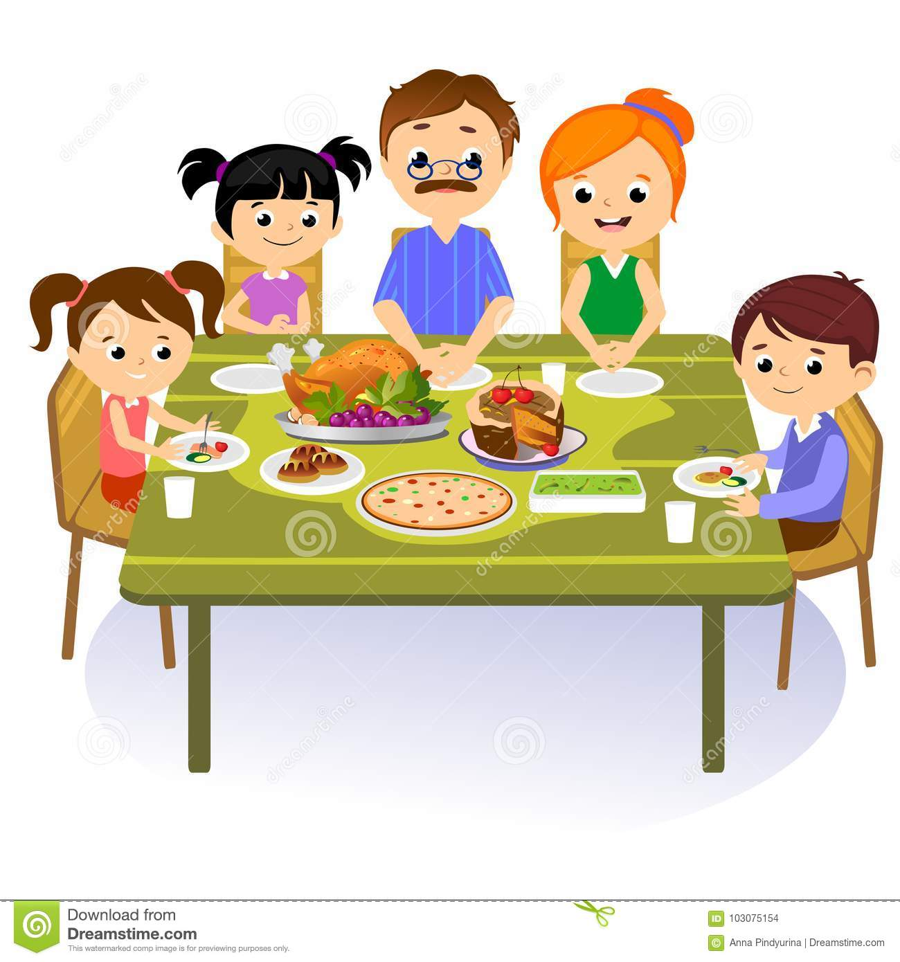 Eating Table Cartoon: Thanksgiving Table Stock Illustrations